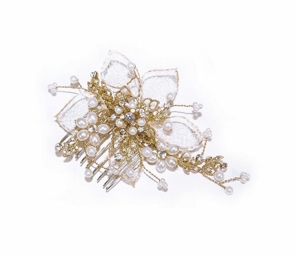 -Gold Pearl Flower Comb